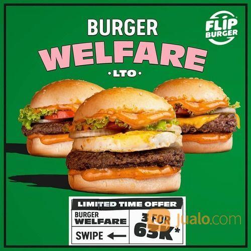 FLIP BURGER Welfare Burger, 3 pcs For 63K Pesan Sekarang yuk ! (29523477) di Kota Jakarta Selatan