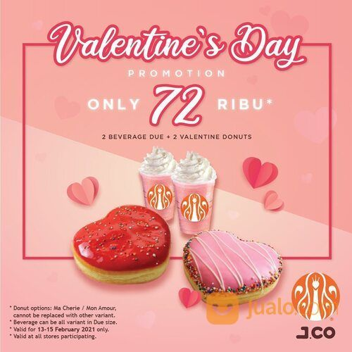 JCO Dapatkan 2 minuman ukuran Due + 2 donut edisi Valentine hanya dengan 72ribu (29551644) di Kota Jakarta Selatan