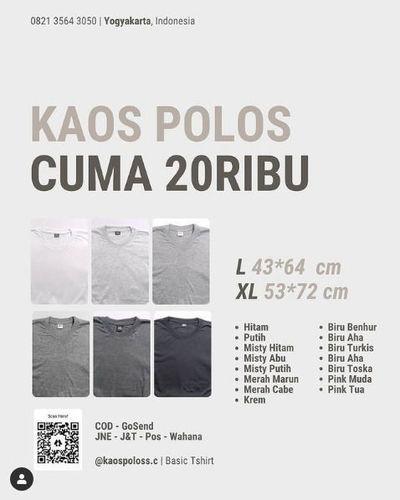Kaos Polos Cuma 20k (29622276) di Kota Yogyakarta