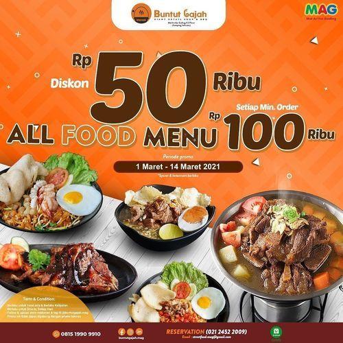 Warunk Buntut Gajah, March promo is here !! DISKON 50 ribu utk ALL FOOD MENU, minimum order 100 ribu (29642447) di Kota Jakarta Utara