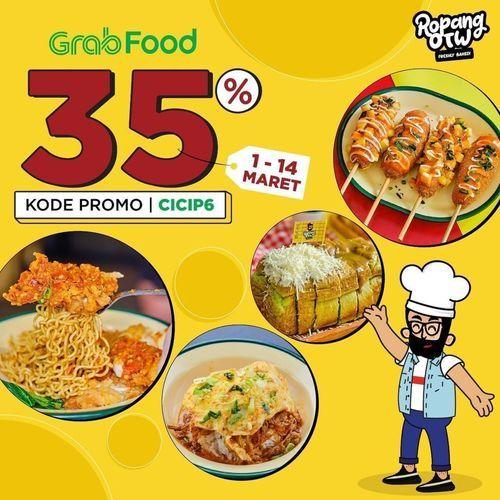 @ropangotw Asiekkkkk ada promo diskon dari @grabfoodid di seluruh cabang @ropangotw Discount 35% (29651488) di Kota Jakarta Selatan