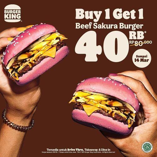 Burger King Buy 1 Get 1 Beef Sakura Burger cuma Rp. 40 Ribu (29707765) di Kota Jakarta Selatan