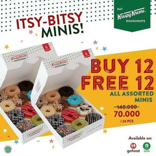 Krispy Kreme BUY 12 FREE 12 ALL ASSORTED MINIS (29720408) di Kota Jakarta Selatan