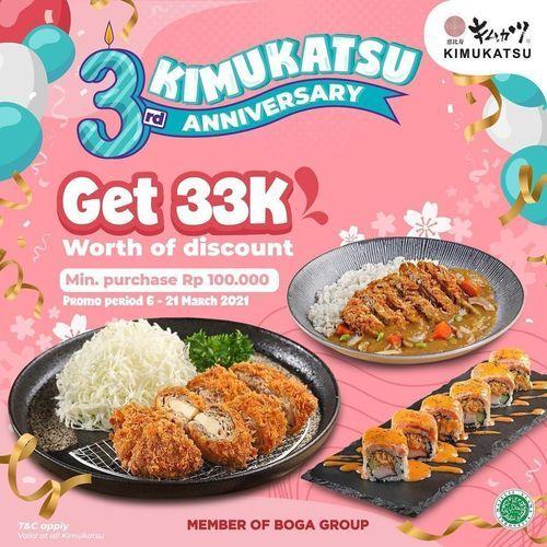 3rd Anniversary Kimukatsu Get 33K Worth Of Discount ! (29752283) di Kota Jakarta Selatan