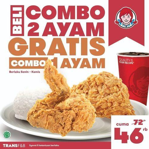 Wendy's Nikmati hari Senin kamu dengan Promo Beli Combo 2 Ayam GRATIS Combo 1 Ayam (29784368) di Kota Jakarta Selatan