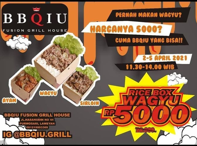 BBQIU Fusion Grill House Rice Box Wagyu Rp. 5 000 !! (29858543) di Kota Surakarta