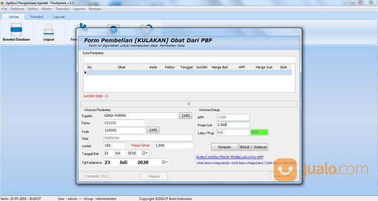 Software Apliakasi Kasir Klinik TheApotek 2021 (29923258) di Kab. Lombok Barat