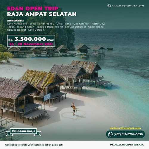 Adzkya Tour Travel OPEN TRIP MISOOL, RAJA AMPAT SELATAN 5D4N (30023534) di Kota Jakarta Selatan