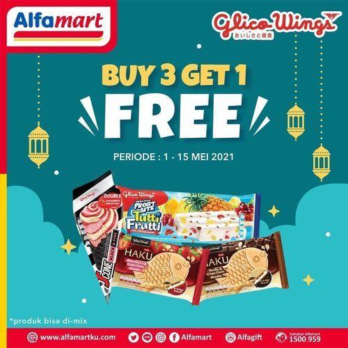 Alfamart promo Buy 3 get 1 Free untuk pembelian produk Glico Wings Ice Cream (30023647) di Kota Jakarta Selatan