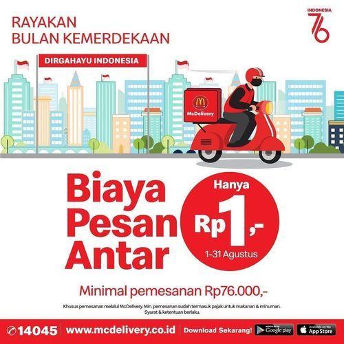 McDonald's biaya pesan antar hanya Rp 1,- aja loh. (30527915) di Kota Jakarta Selatan