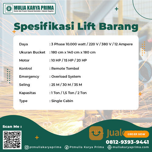 Sewa Lift Barang Kabupaten Banggai Kepulauan (30771849) di Kab. Banggai Kep.