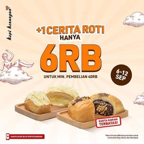 Kopi Kenangan Promo khusus pengguna Aplikasi Kopi Kenangan! Nikmati +1 Cerita Roti HANYA 6RB (30856193) di Kota Jakarta Selatan