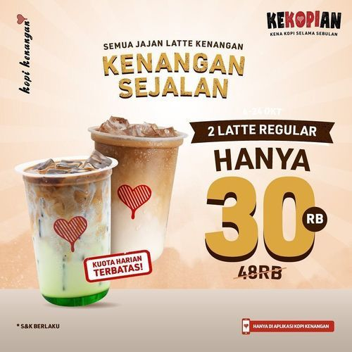 Kopi Kenangan Panggilan untuk pecinta Kopi! Promo 2 Latte Regular HANYA 30RB masih menanti (31135255) di Kota Jakarta Selatan