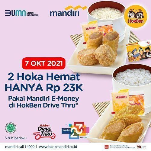 HokBen Ada promo 2 Hoka Hemat cuma 23k dengan Kartu Mandiri E-Money* (31136305) di Kota Jakarta Selatan
