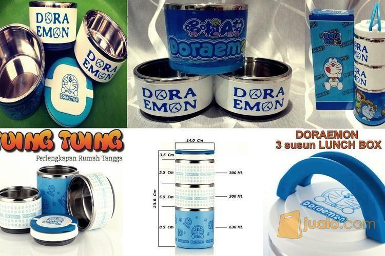 DORAEMON 3 Layer LUNCH BOX Rantang Karakter Bulat Putar Susun 3 (4801541) di Kab. Sidoarjo