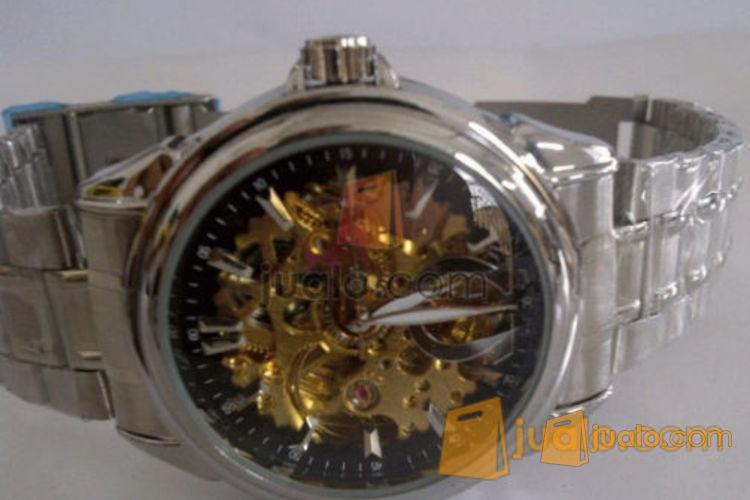 jam tangan omega skeleton otomatis black rantai (KW) (493410) di Jakarta
