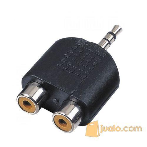Jack Mini Stereo 3.5mm Dual RCA - Hitam (5705337) di Kab. Bekasi