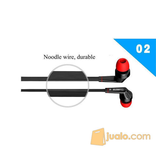 Earphones Stereo Bass 3.5mm Jack Noodle Cable with Microphone (5707069) di Kota Bogor
