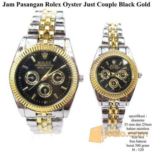 jam tangan pasangan rollex oyster just couple black glossy fullset (7390993) di Kota Bekasi