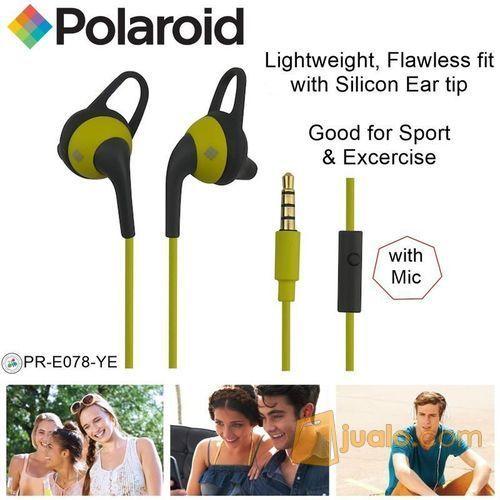 Polaroid Earphone Sports w/ ear tip & mic, stereo headset E078-YE (7469957) di Kota Jakarta Barat