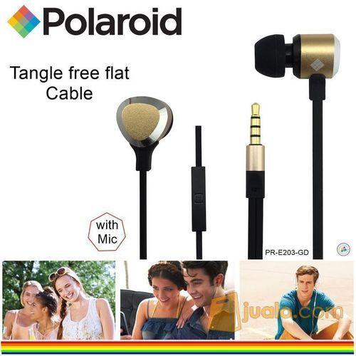 Polaroid Metal Earphone with mic, tangle free cable headset E203-GD (7470387) di Kota Jakarta Barat