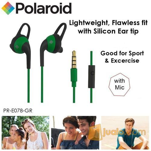 Polaroid Earphone Sports with ear tip & mic, stereo headset E078-GR (7471525) di Kota Jakarta Barat