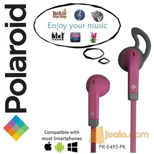 Polaroid Earphone Sports w/ ear tip & flat cable stereo headset E495PK (7471997) di Kota Jakarta Barat