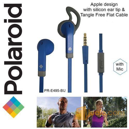 Polaroid Earphone Sports w/ ear tip & flat cable stereo headset E495BU (7472113) di Kota Jakarta Barat