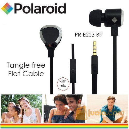 Polaroid Metal Earphone with mic, tangle free cable headset E203-BK (7472853) di Kota Jakarta Barat