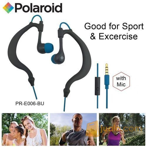 Polaroid Earphone Sports sweat proof with mic, earhook headset E006-BU (7473491) di Kota Jakarta Barat