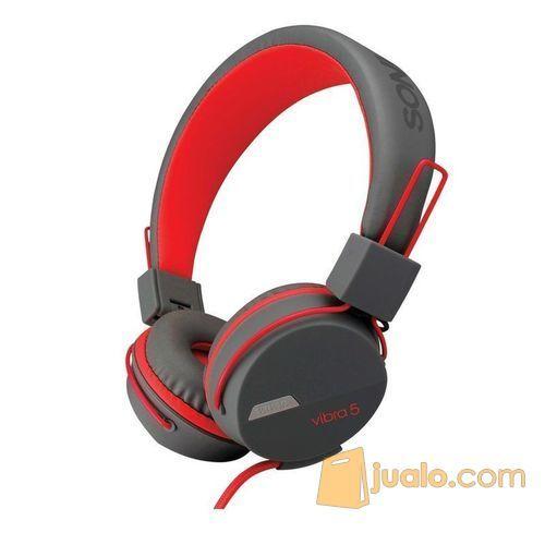 Sonicgear-vibra-5-wired-headsets-grey-red (7869219) di Kota Jakarta Barat