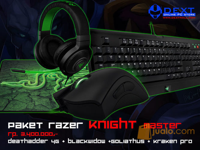 Paket Razer Knight Master (Mouse Deathadder 2013 + Keyboard BW T2 + Mousepad Goliathus Med Speed + Headset Kraken Pro White) (7872877) di Kota Jakarta Barat