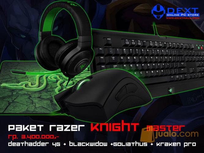 Paket Razer Knight Master (Mouse Deathadder 2013+Keyboard BW T2 Stealth+Mousepad Goliathus Med Control+Headset Kraken Pro Green) (7873359) di Kota Jakarta Barat