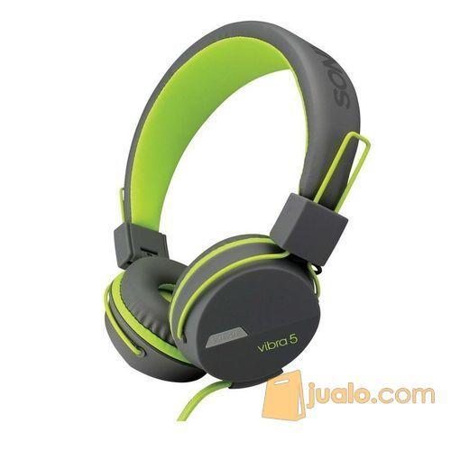 sonicgear-vibra-5-wired-headsets-grey-green (7876537) di Kota Jakarta Barat
