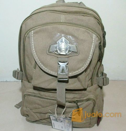Tas Ransel Laptop Kanvas + Rain Cover
