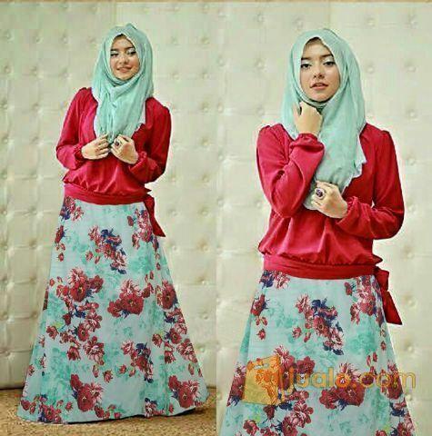 Busana Muslim Gamis Maxi Zacia Red Hawwa Set Baju Wanita Remaja Murah Jakarta Barat Jualo