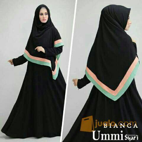 Gamis Ummi Syari Bianca Black Baju Muslim Wanita Remaja Bagus Murah Jakarta Barat Jualo