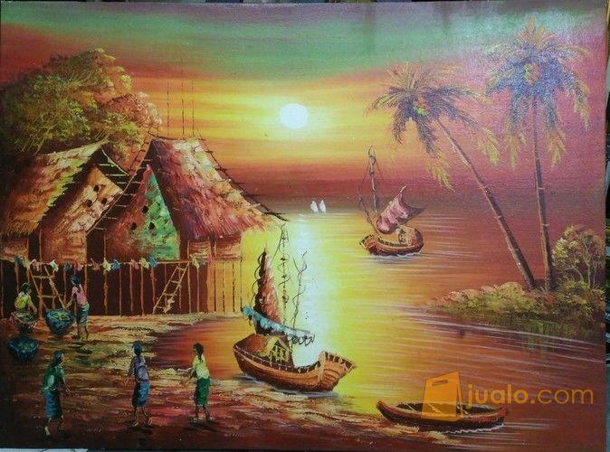 Lukisan Pemandangan Tepi Pantai Saat Senja Depok Jualo