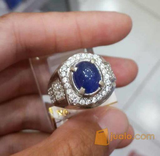Cincin Perak Pria Batu Blue Safir Afrika 10 Kab Banjar Jualo