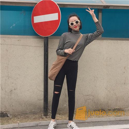 Jegging Sobek Hitam Celana Semi Jeans Stretch Slim Fit Legging Katun Jakarta Barat Jualo