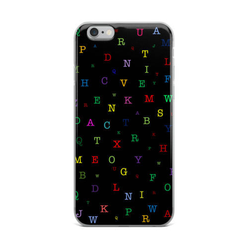 alphabets pattern black mobile cover
