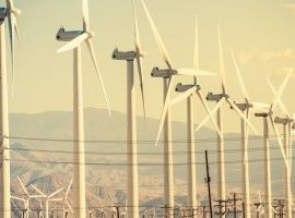 Conversion of Wind Energy. Wind Turbines at Coachella Valley Wind Farm.