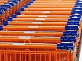 Many shopping carts at a supermarket