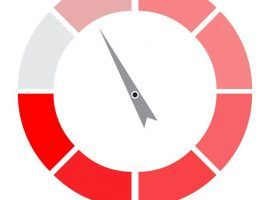 Indicator round red with pointer needle. Index and pointer, arrow indicator, measurement spectrum and power panel. Vector illustration
