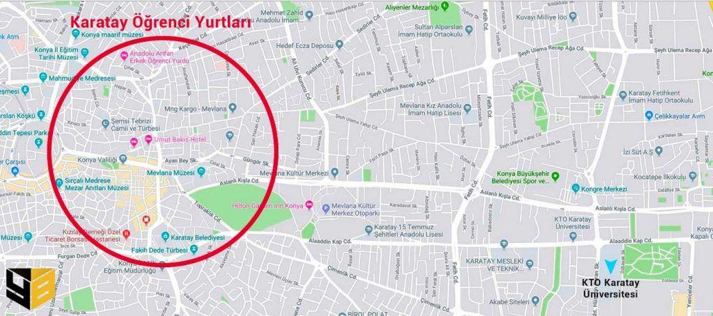 Konya öğrenci yurtları arasında KTO Karata Üniversitesine yürüyüş mesafesinde olan yurt sayısı oldukça azdır.