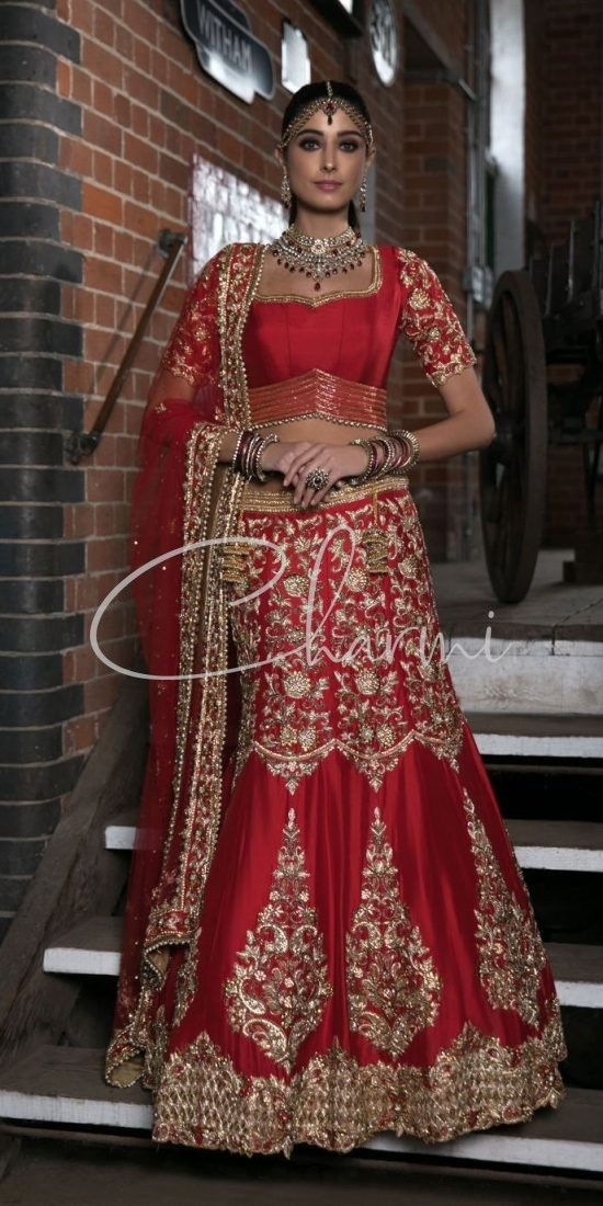 Red Raw Silk Indian Wedding Lehenga