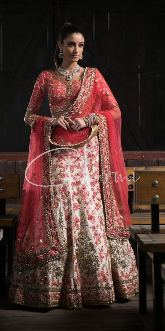 Pink & Ivory Floral Lehenga Asian Wedding Outfit