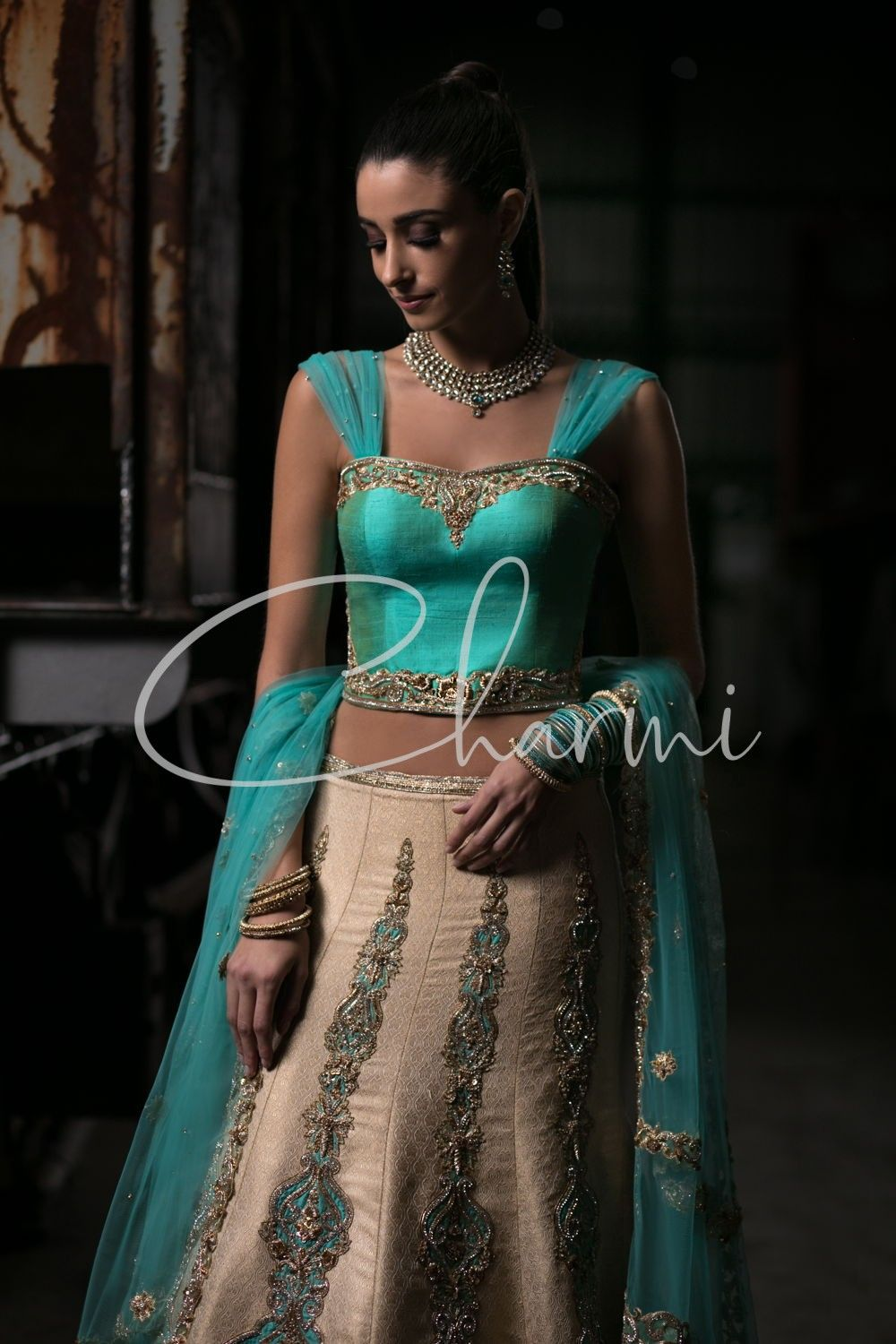 Gold Brocade Blue Raw Silk Lehenga for Reception Outfit