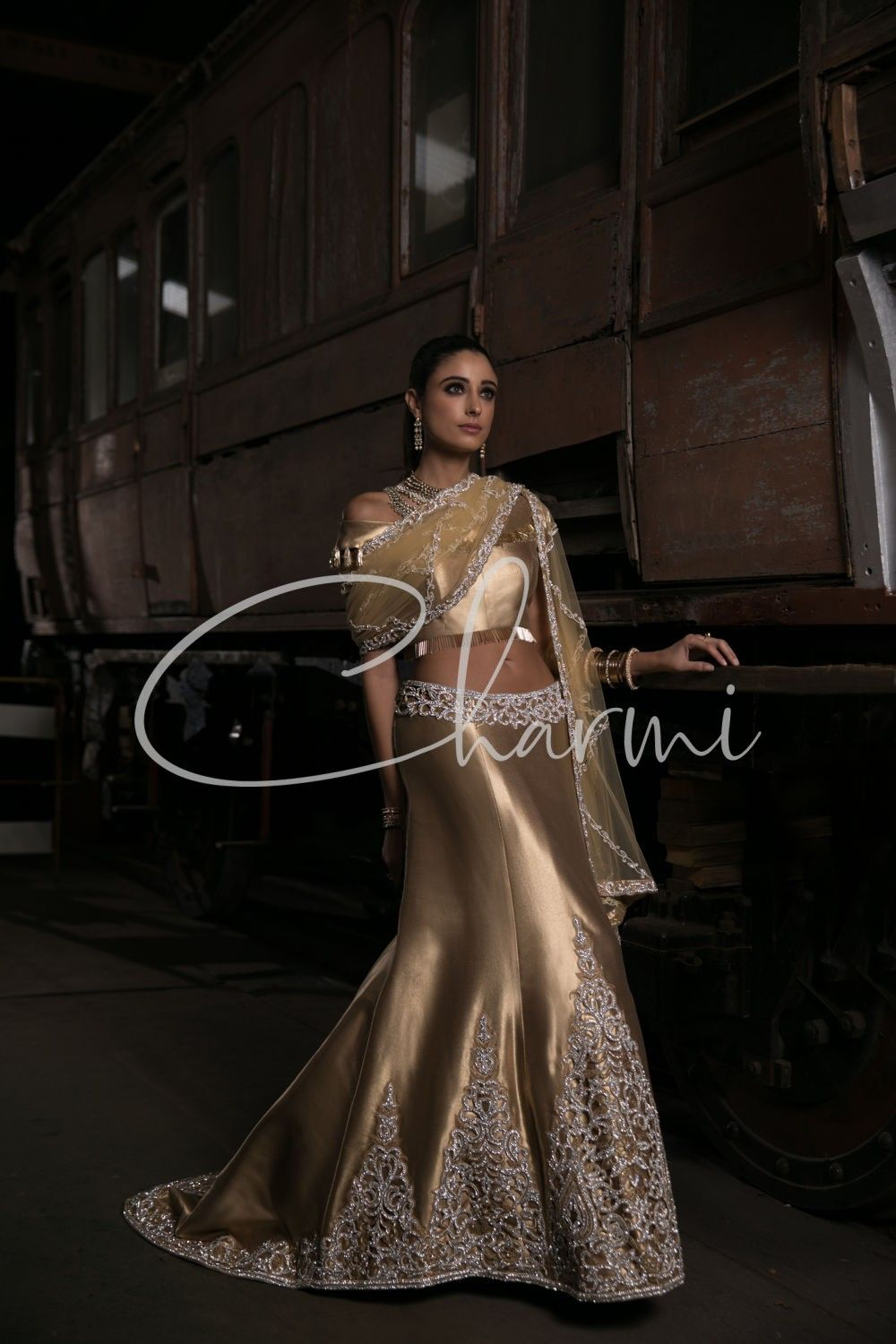 Gold Fusion Asian Wedding Lehenga with Trail