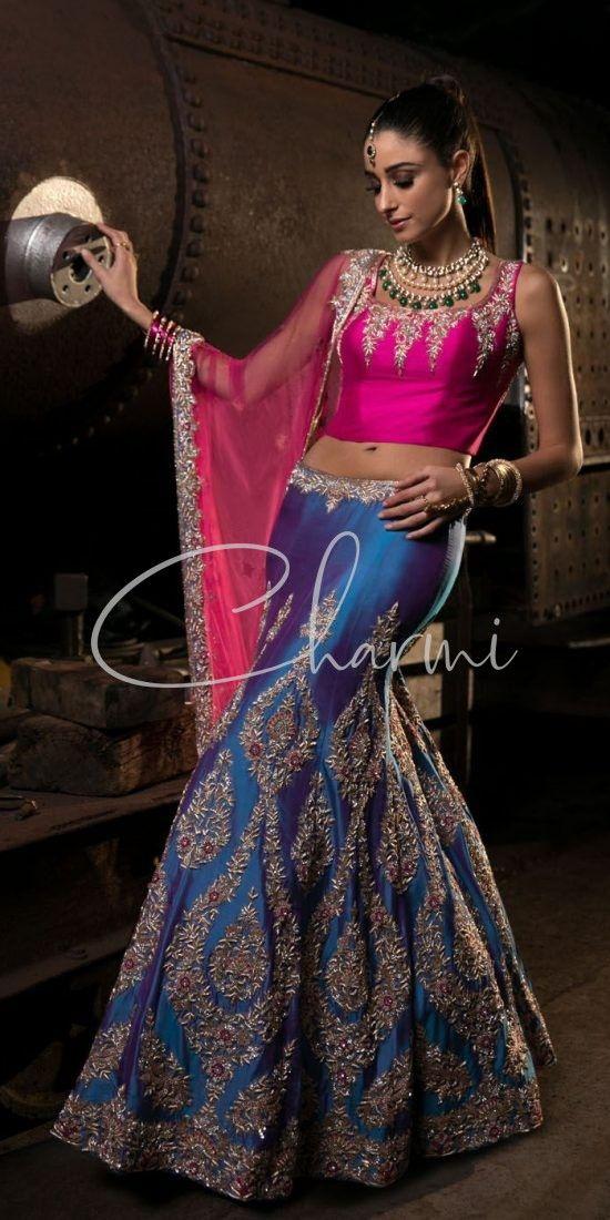 Blue & Pink Tone Indian Lehenga Choli for Reception